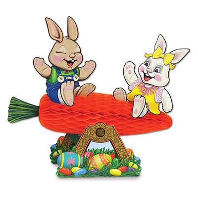 Carrot Seesaw w/Bunnies (Pack of 12) Carrot, Seesaw, Bunnies, Easter, eggs, jellybeans, candy, easter bunny