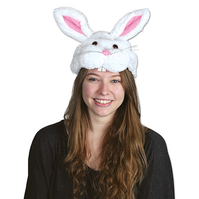 Plush Bunny Head Hat (Pack of 12) Easter, bunny, hat, head, happy easter, rabit