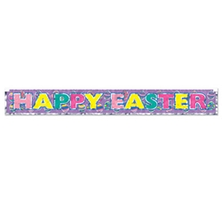 Metallic Happy Easter Fringe Banner (Pack of 12) Metallic Happy Easter Fringe Banner, happy easter, easter, banner, decoration, wholesale, inexpensive, bulk