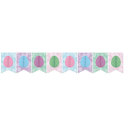 Pennant banner with tissue eggs in pink, blue, purple, and green.