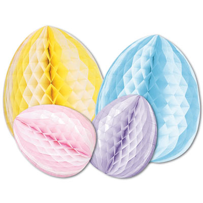 "12"" Tissue Eggs (Pack of 12) Tissue Eggs, decoration, easter, eggs, wholesale, inexpensive, bulk, pastels, blue, pink, purple, yellow"