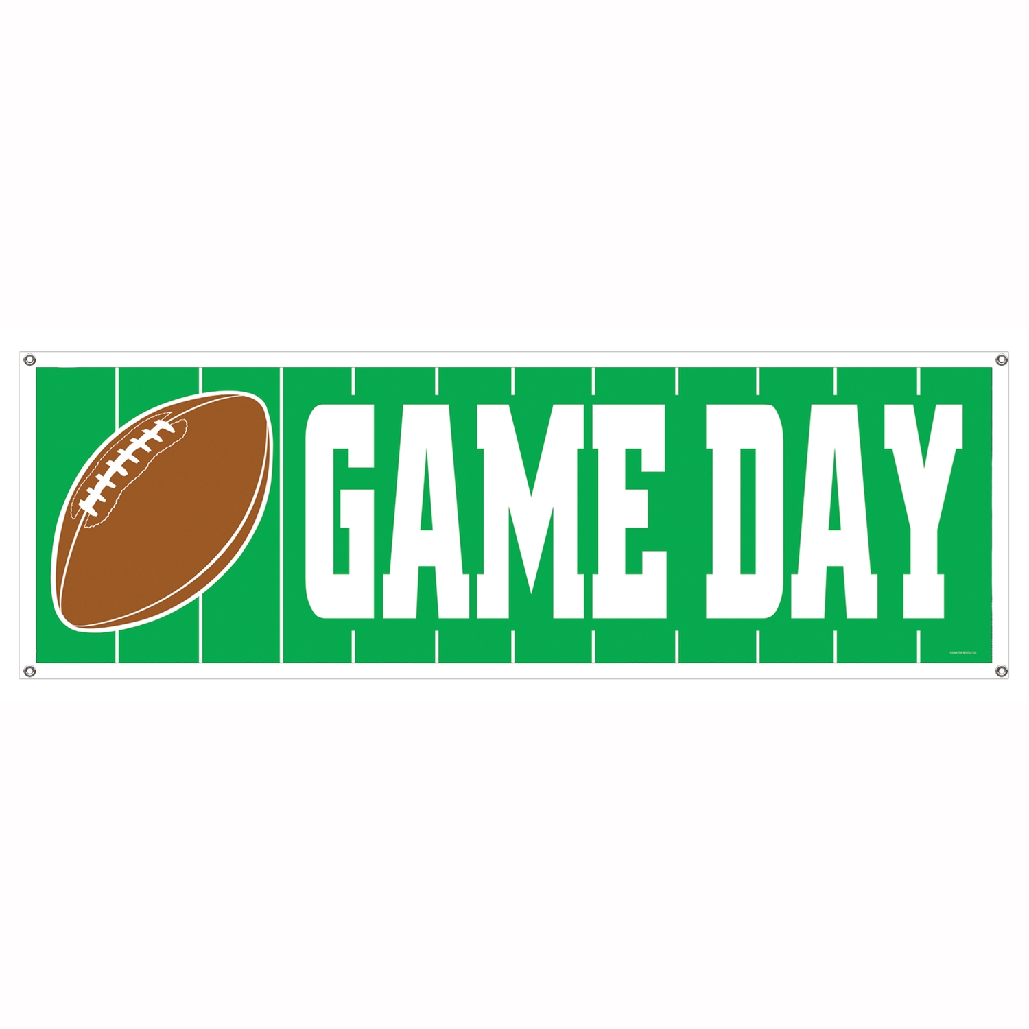 Game Day Football Sign Banner (Pack of 12) game day, football, sign, banner, green, white, brown, field, party, superbowl, tailgating, playoffs,