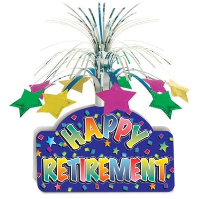 "Card stock bottom saying ""Happy Retirement"" in multi-color with a cascade of metallic material"