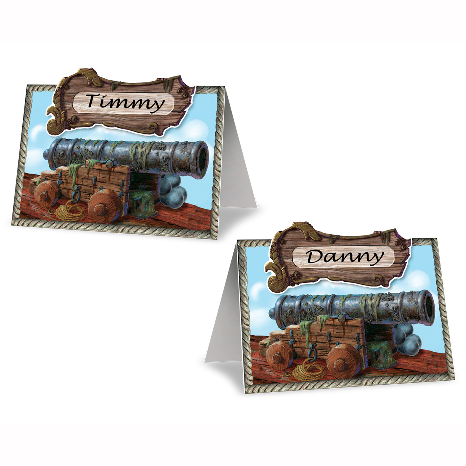 Pirate Cannon Place Cards (Pack of 96) Place Cards, Name Tags, Pirate Name Cards, Pirate Cannon, Pirate place cards