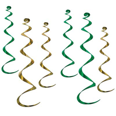 Twirly Whirlys (Pack of 36) twirly, whirlys, decoration, green, gold, new years eve, st. patricks day, wholesale, inexpensive, bulk