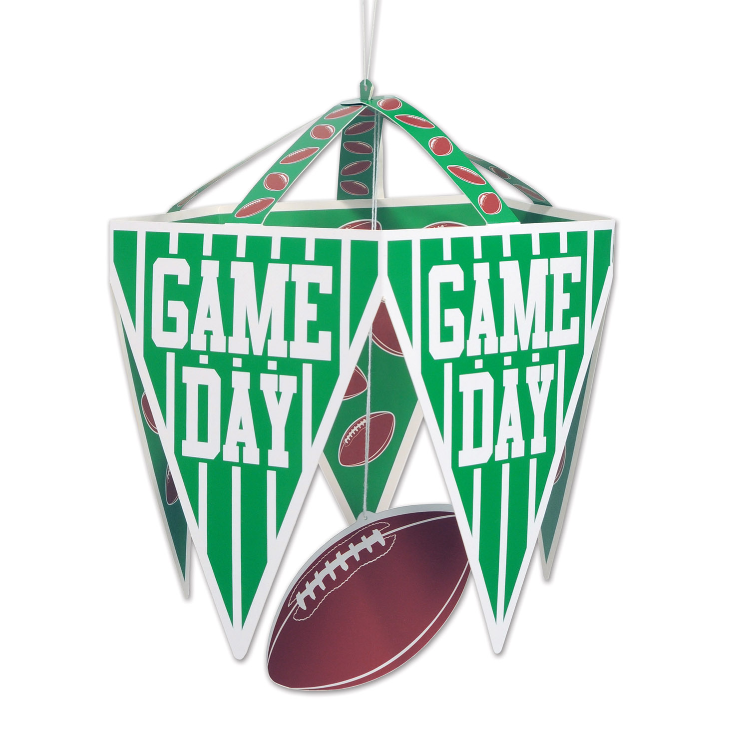 Game Day Pennant Chandelier (Pack of 12) Game Day, Football Pennant Chandelier, Inexpensive Hanging Decor, Wholesale supplies, Cheap Football Decorations, Football ideas