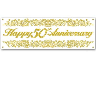 "White banner with golden ""Happy 50th Anniversary"" and a golden design on the top and bottom of the banner."