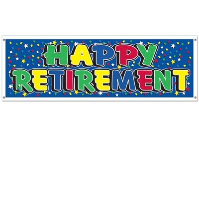 "Solid blue background banner with assorted colored stars and letters spelling out ""Happy Retirement""."