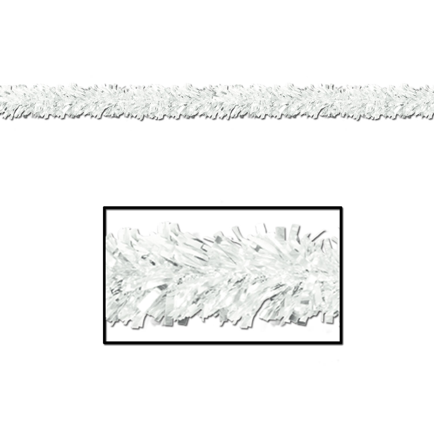 6-Ply White Metallic Festooning Garland (Pack of 12) Garland, White, Festooning, Metallic Garland, Hanging Decor, Christmas, Winter, Snow, Snowflakes, Wholesale party decor, Inexpensive party supplies, Bulk party goods, Cheap, Winter wonderland