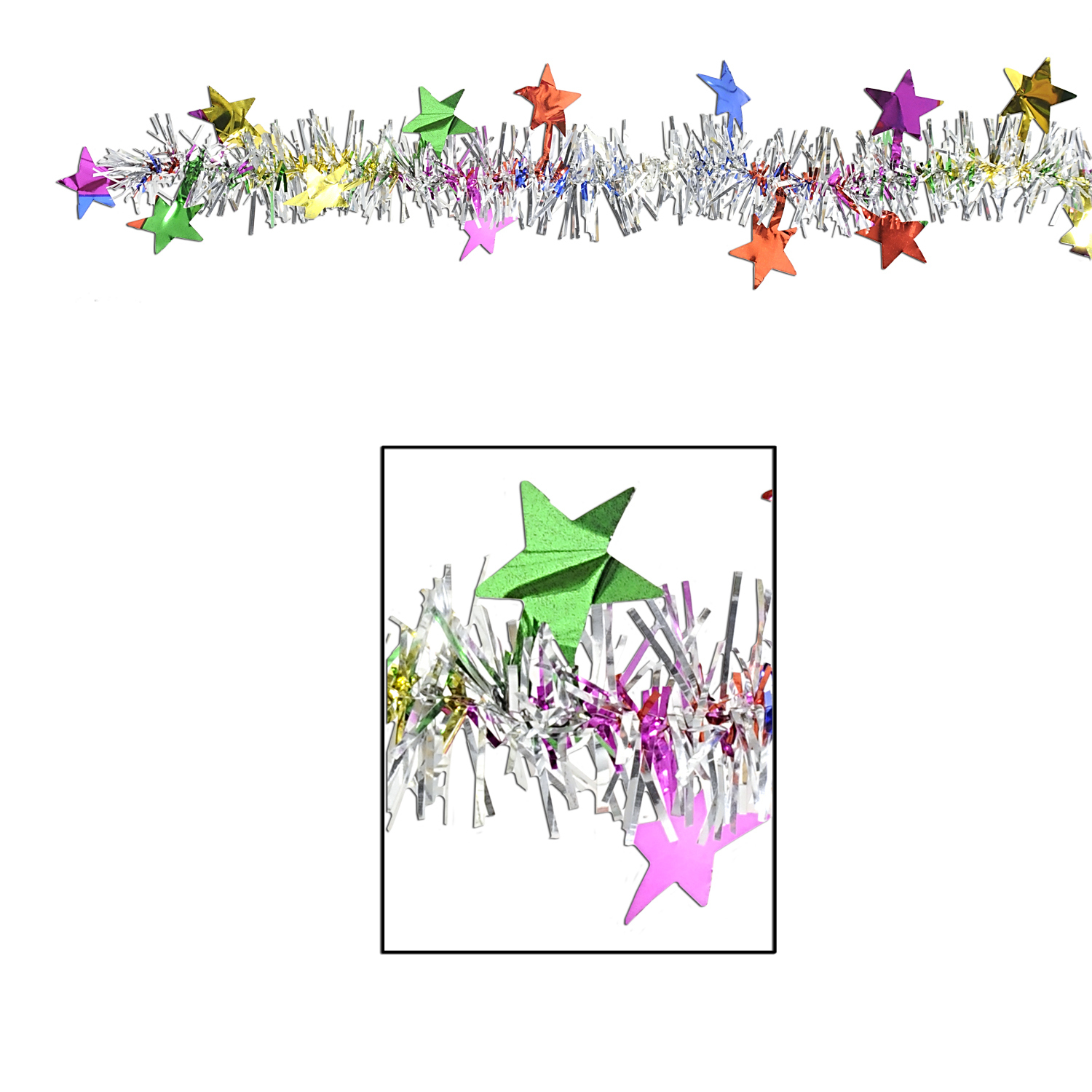 Multi-Color Metallic Star Garland (Pack of 12) Galrand, Metallic Garland, Star garland, Multi-color, Birthday, cheap, Hanging Decor, Wholesale party supplies, Party goods, New Years Eve, Decorations, Inexpensive, Budget