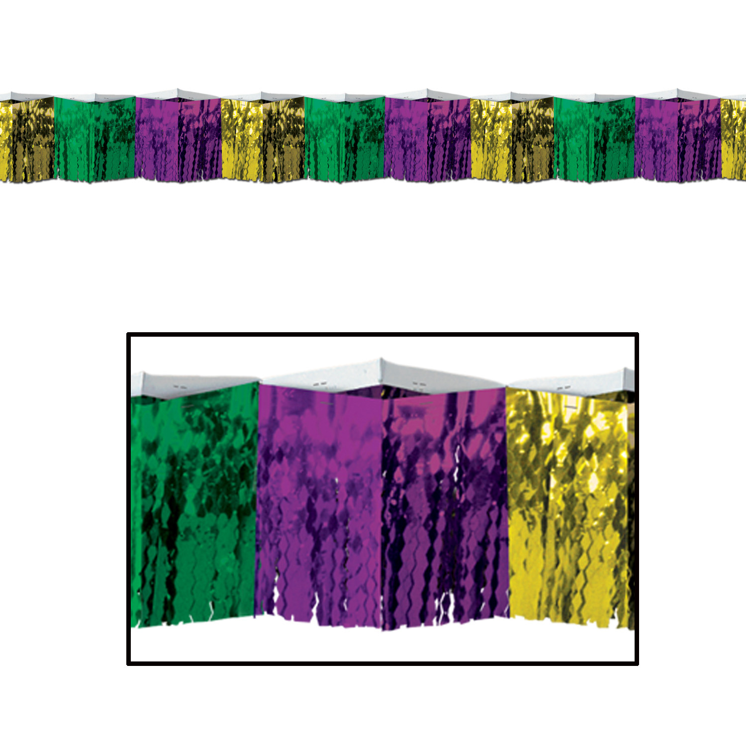 2-Ply Diamond Metallic Fringe Drape (Pack of 6) Diamond Metallic Fringe Drape, mardi gras, decoration, green, gold, green, wholesale, inexpensive, bulk