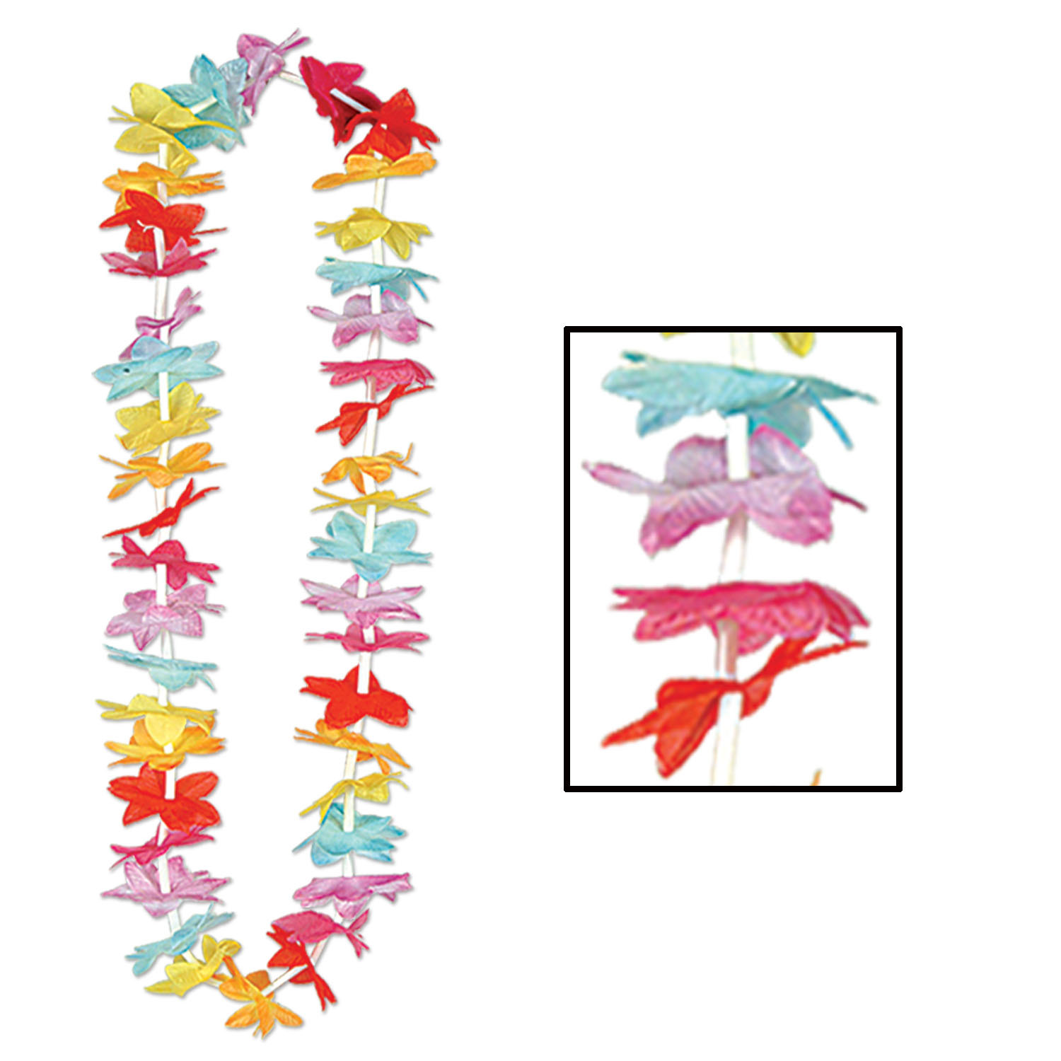 Floral Lei (Pack of 50) Leis, Floral Lei, Floral Petals, Multi-color, Cheap, Bulk, Luau, New Years Eve, Tropical Event, Caribbean, Island themed, Wholesale party supplies, Inexpensive party favors, Party Goods
