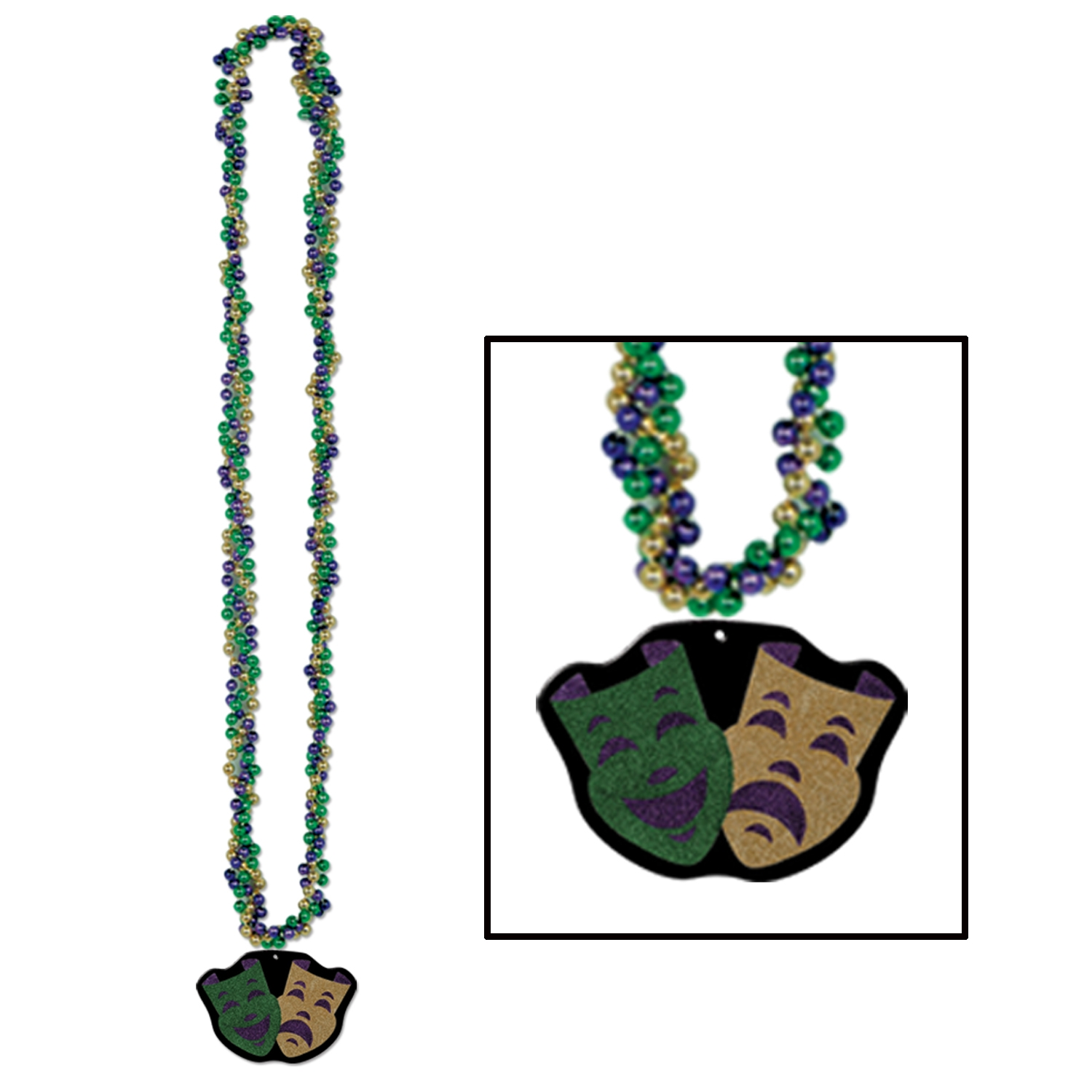 Braided Beads w/Comedy & Tragedy Medal (Pack of 12) Mardi Gras, Beads, Comedy, Tradedy, Medallion, medal, neckalce