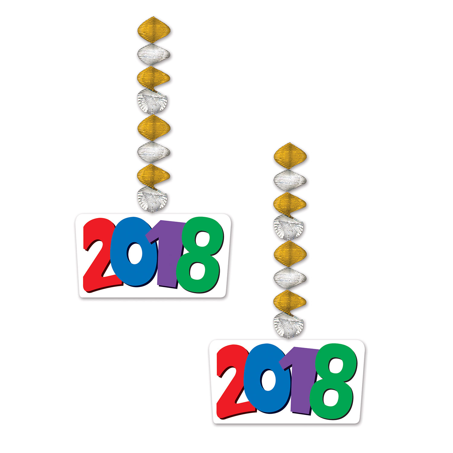 2018  Danglers (Pack of 24) 2018 Danglers, New Years Decor, New Years Ideas, Wholesale party supplies, Inexpensive party goods, Cheap decorations, Multi Color, Hanging Decorations, Graduation supplies, Danglers