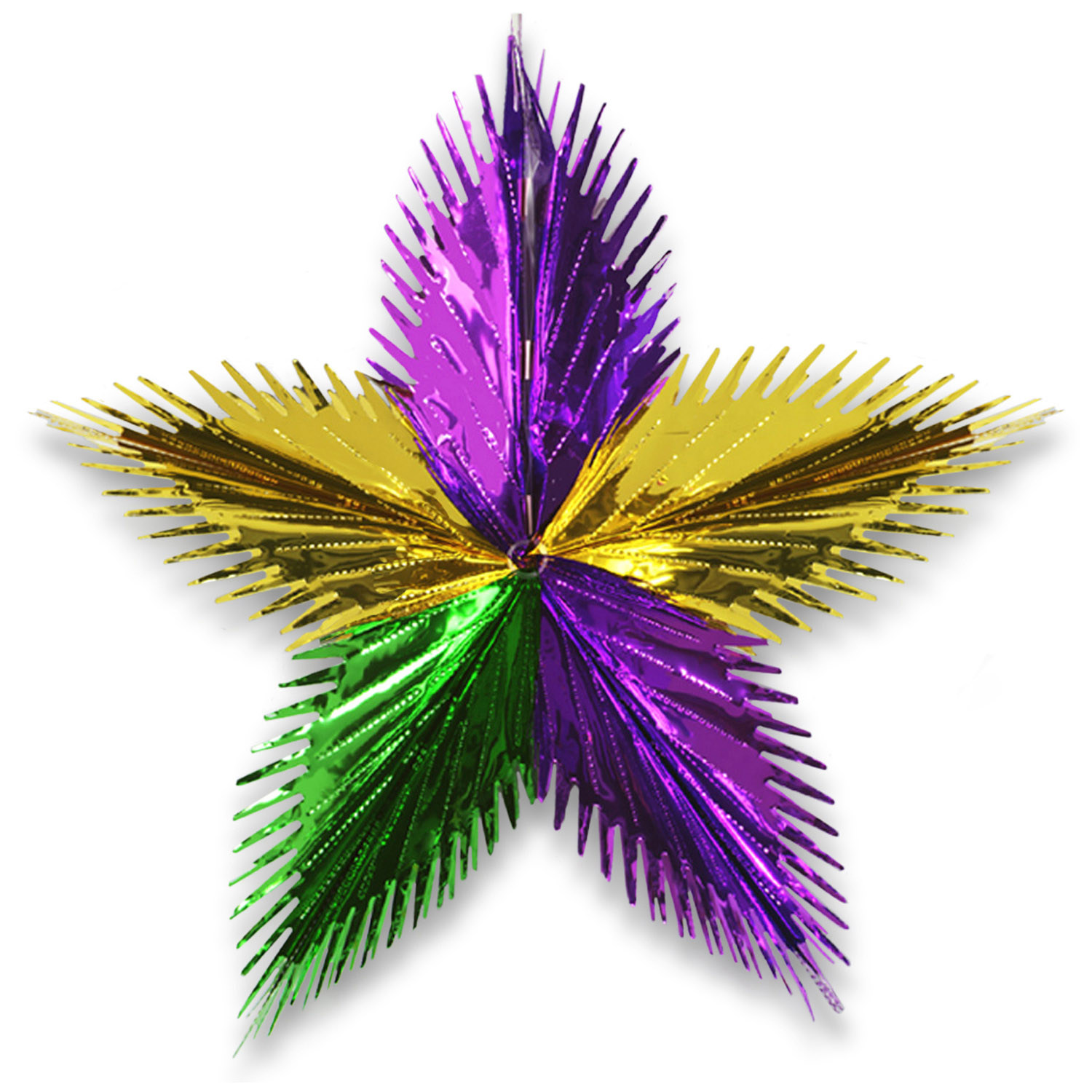 "16"" Leaf Starburst (Pack of 12) Leaf Starburst, decoration, mardi gras, purple, gold, green, wholesale, inexpensive, bulk"
