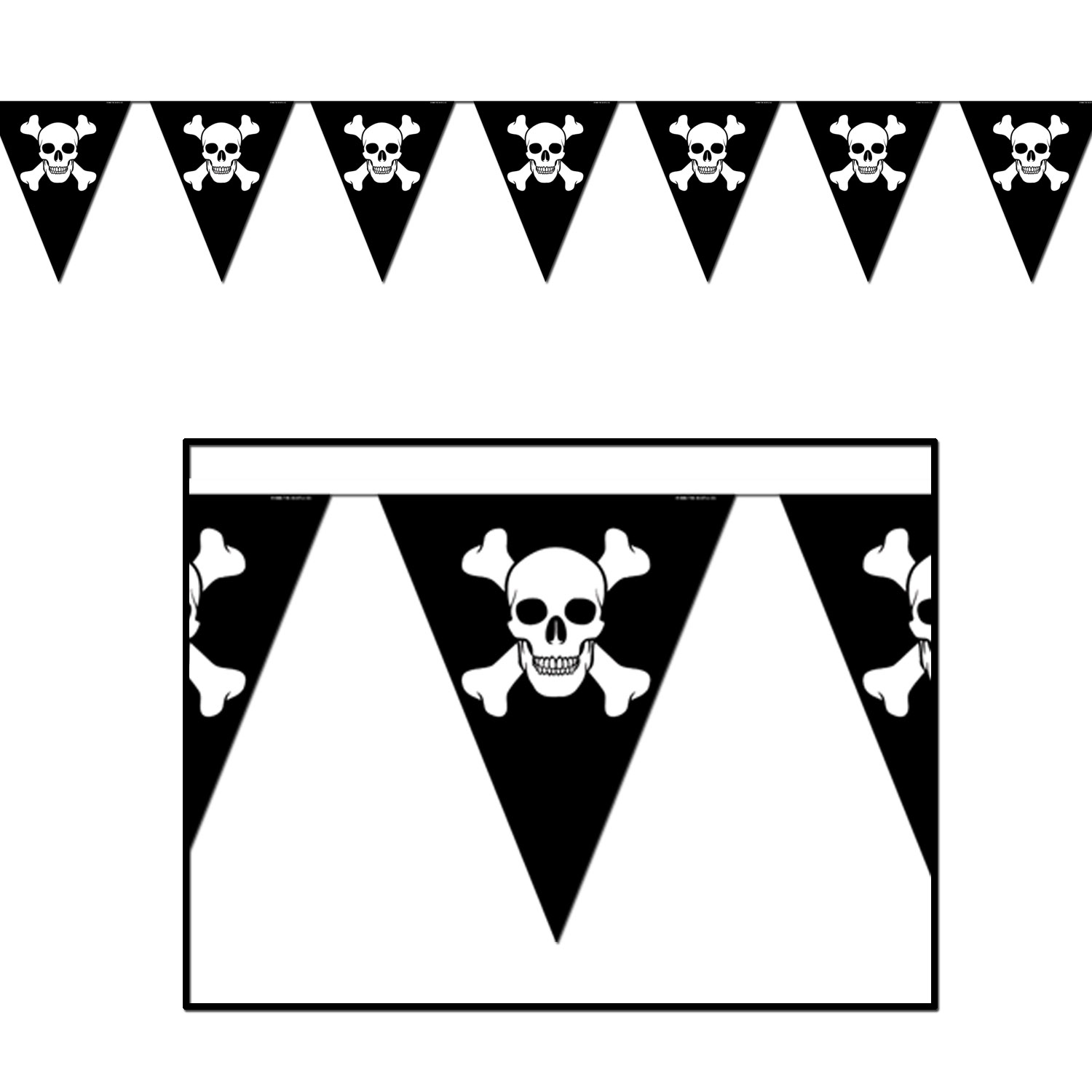 Jolly Roger Pennant Banner (Pack of 12) Pennant Banner, Jolly Roger, Skulls and Crossbones, Black and White, Birthday ideas, Pirate themed, Cheap pirate supplies, All Weather Banner, Wholesale party supplies, Inexpensive decorations