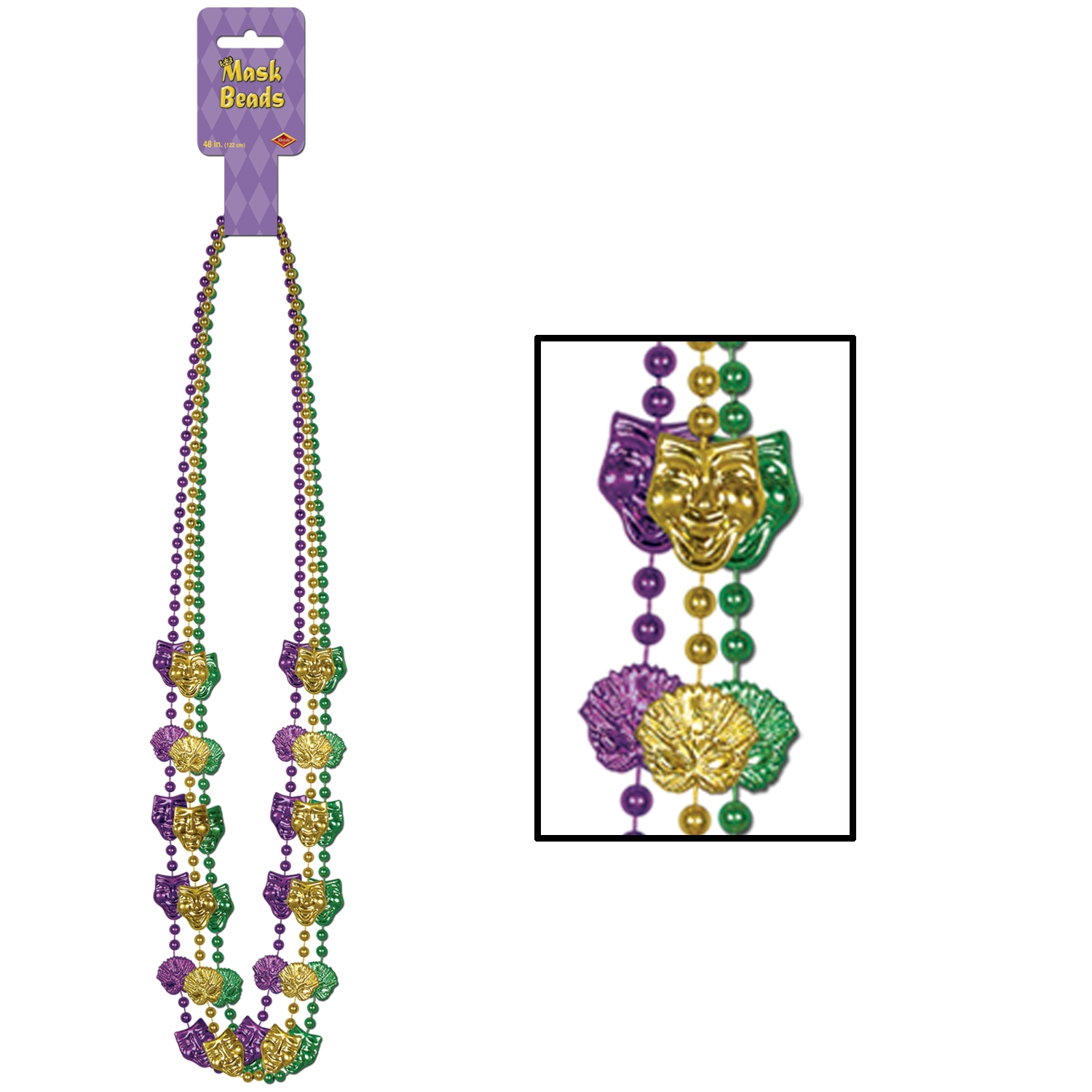 Mardi Gras Mask Beads (Pack of 36) .