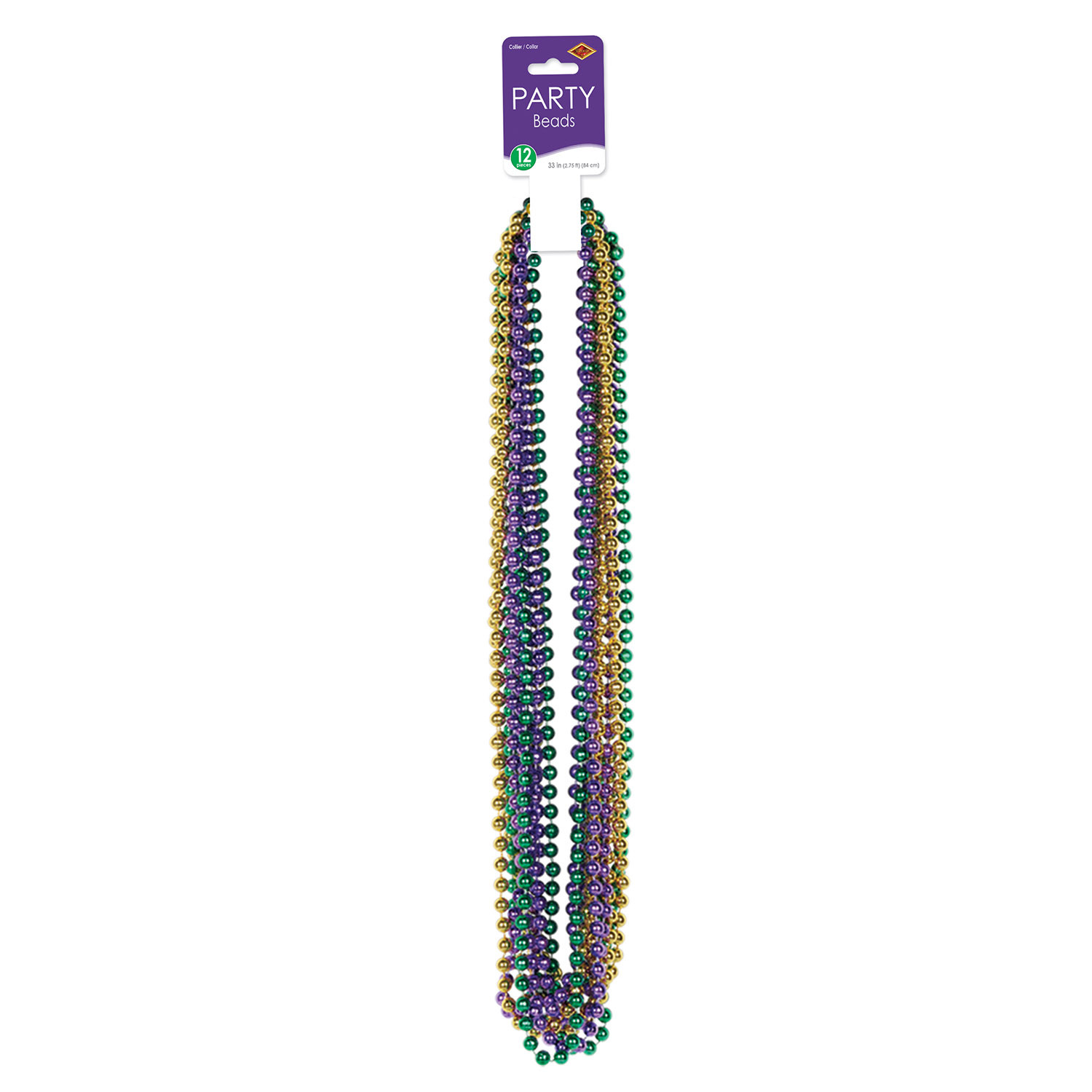 Small Round Beads (Pack of 144)-Gold Green Purple purple, green, gold, yellow, beads, mardi gras, 33 inches, small, round, metallic,