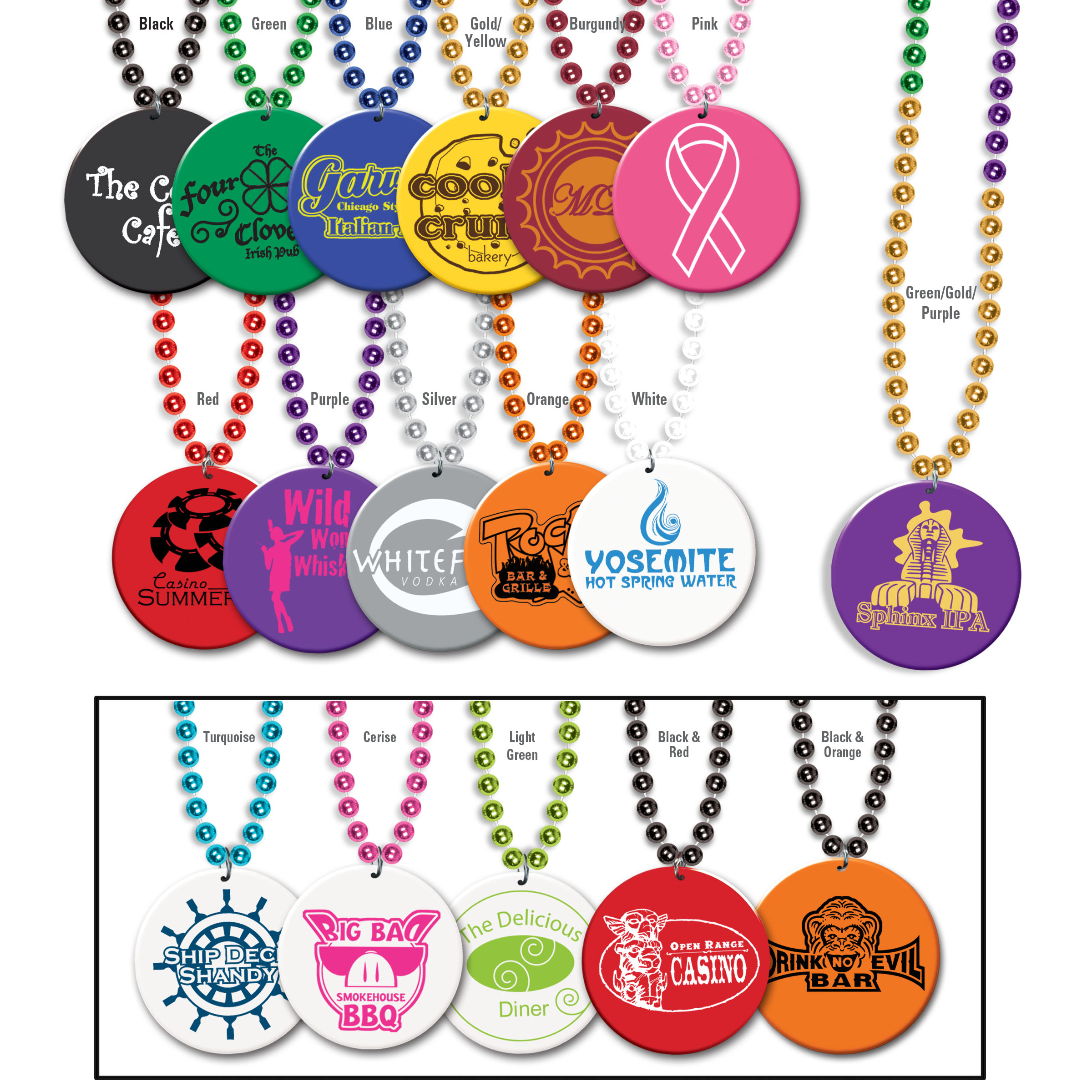 Custom Imprinted Print-N-Toss Medallion Beads  Custom Beads, Party Beads, Promotional Beads