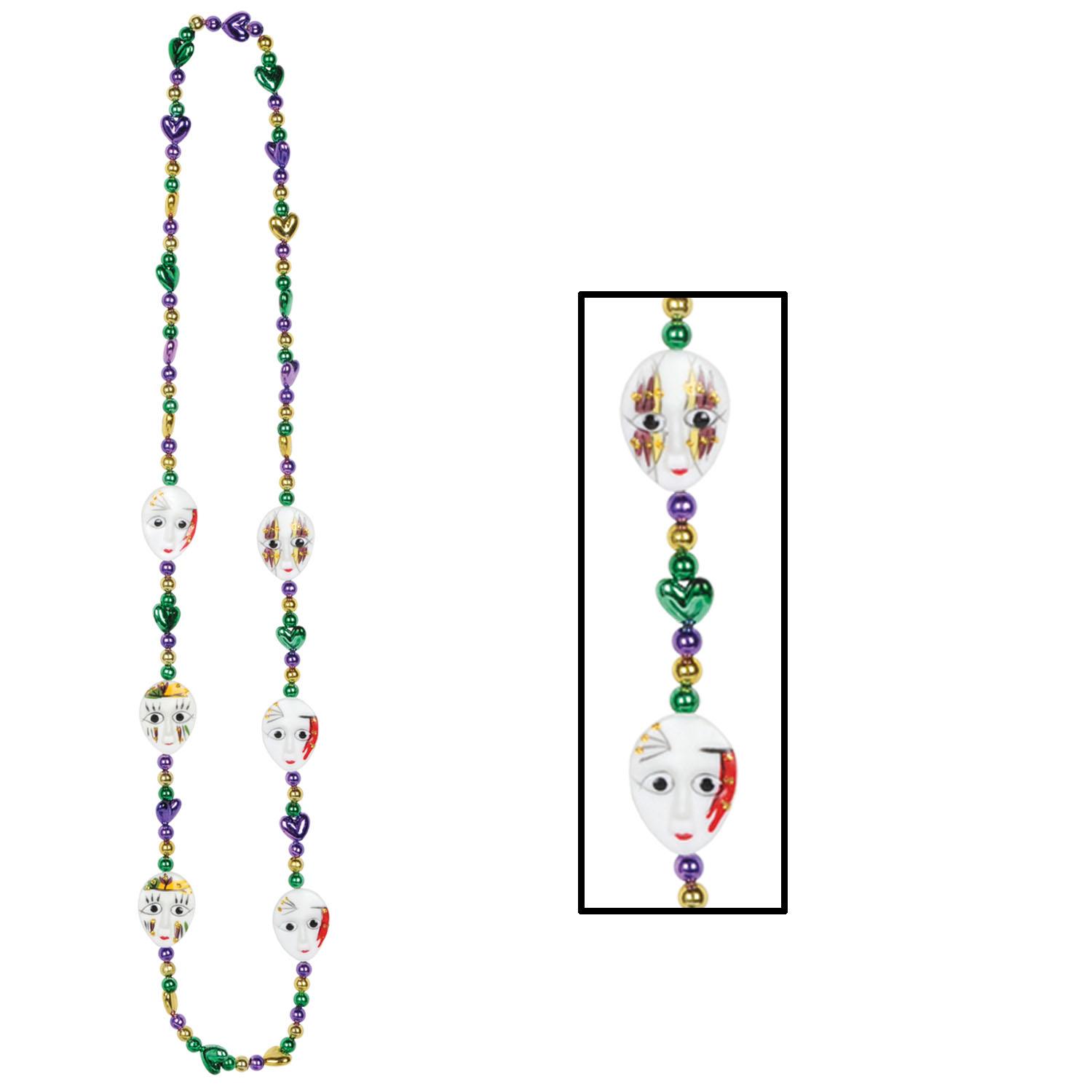 Mardi Gras Mime Beads (Pack of 12) .
