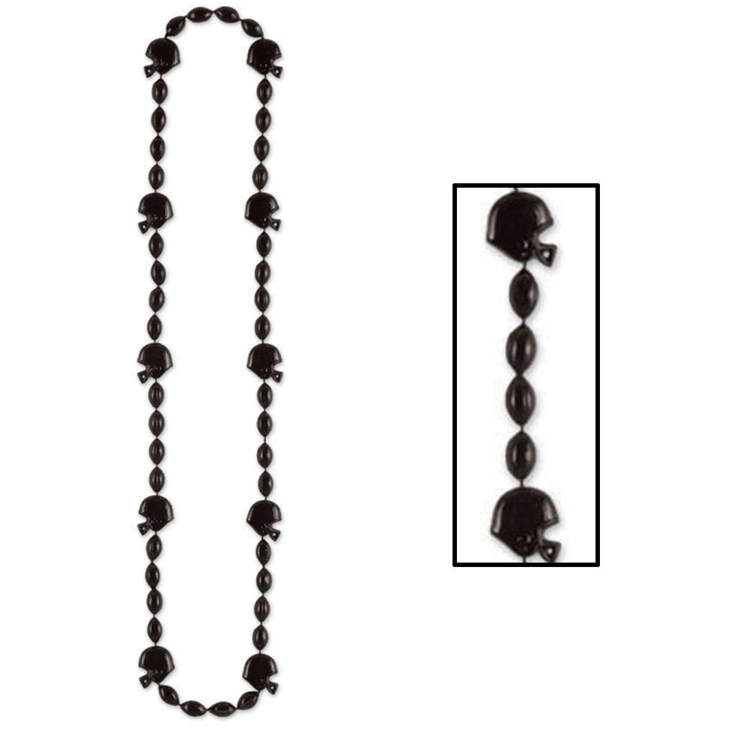 Football Beads (Pack of 12) black, onyx, beads, football, sprts, party, necklace