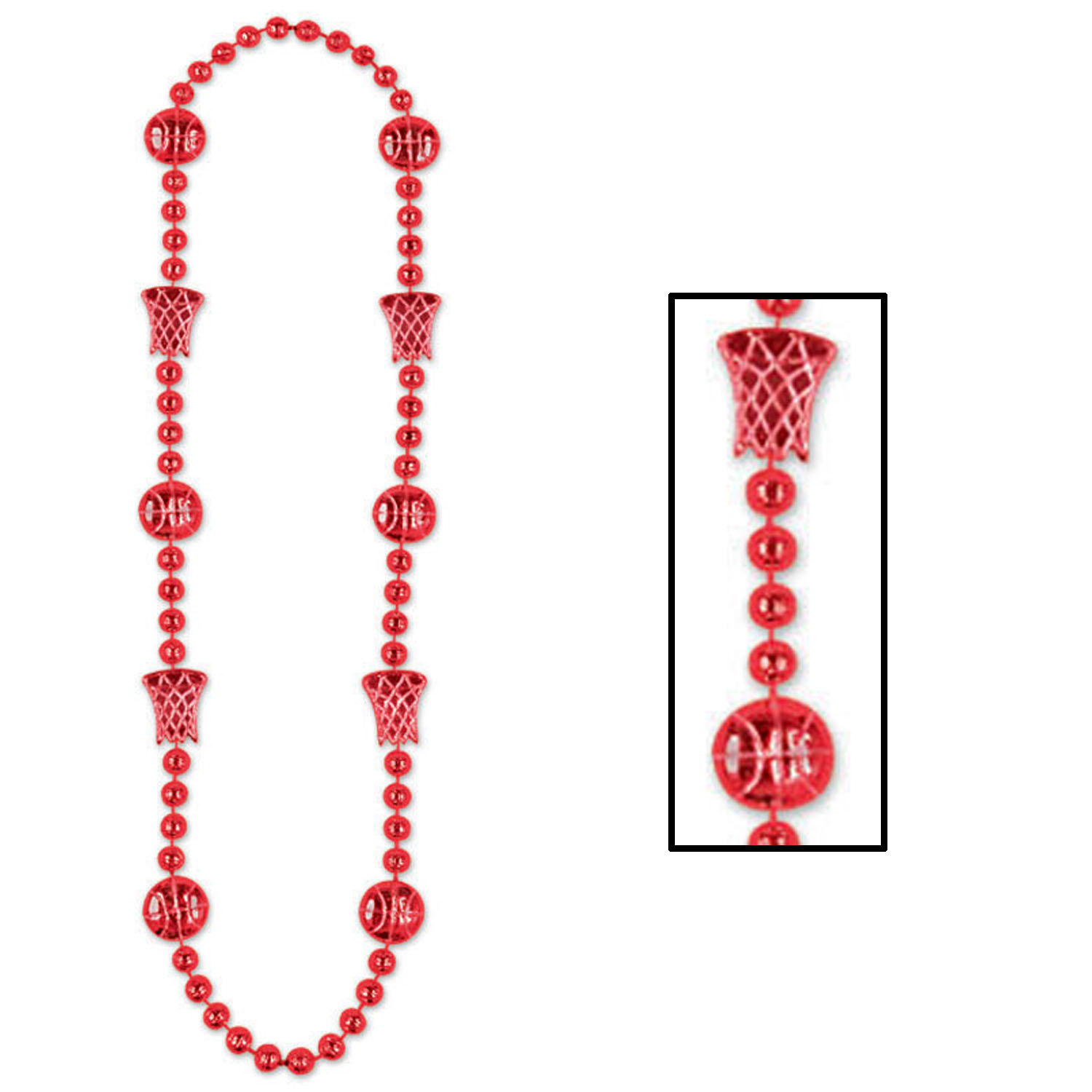 Red Basketball Beads (Pack of 12) .