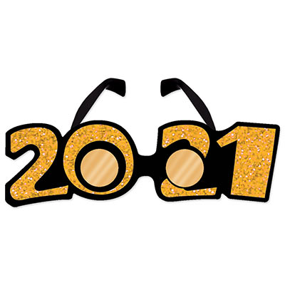 """2021"" Glittered Plastic Eyeglasses (Pack of 12) ""2021"" Glittered Plastic Eyeglasses, 2021, new years eve, gold, eyeglasses, wholesale, inexpensive, bulk"