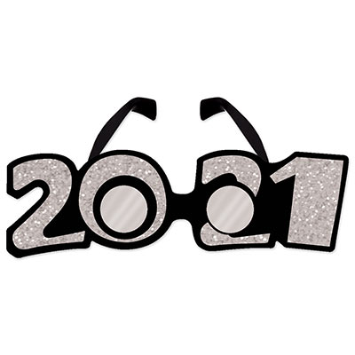 """2021"" Glittered Plastic Eyeglasses (Pack of 12) ""2021"" Glittered Plastic Eyeglasses, 2021, new years eve, silver, eyeglasses, wholesale, inexpensive, bulk"