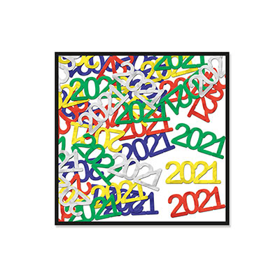 "Fanci-Fetti ""2021"" Silhouettes (Pack of 12) Fanci-Fetti ""2021"" Silhouettes, fanci-fetti, confetti, 2021, decoration, multi-color, new years eve, wholesale, inexpensive, bulk"