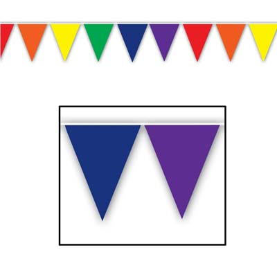 Multi-Color Pennant Banner (Pack of 12) Decorative Pennant Banner, Hanging Decorations, Inexpensive party decor, Birthday party supplies, Pride Events, Pride decorations, All Weather Banners