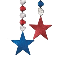 Foil Star Danglers (Pack of 12) Foil, star, patriotic, danglers, metallic, red, white, blue, 4th of july