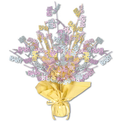 "Metallic centerpiece with is bursting with baby colored cutouts of ""Baby"" and yellow weighted bottom."