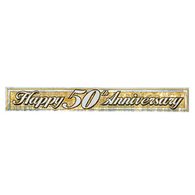 "Metallic banner with gold background and silver ""Happy 50th Anniversary""."