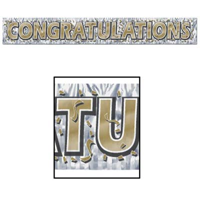 "Silver metallic banner with gold ""Congratulations"" and confetti."