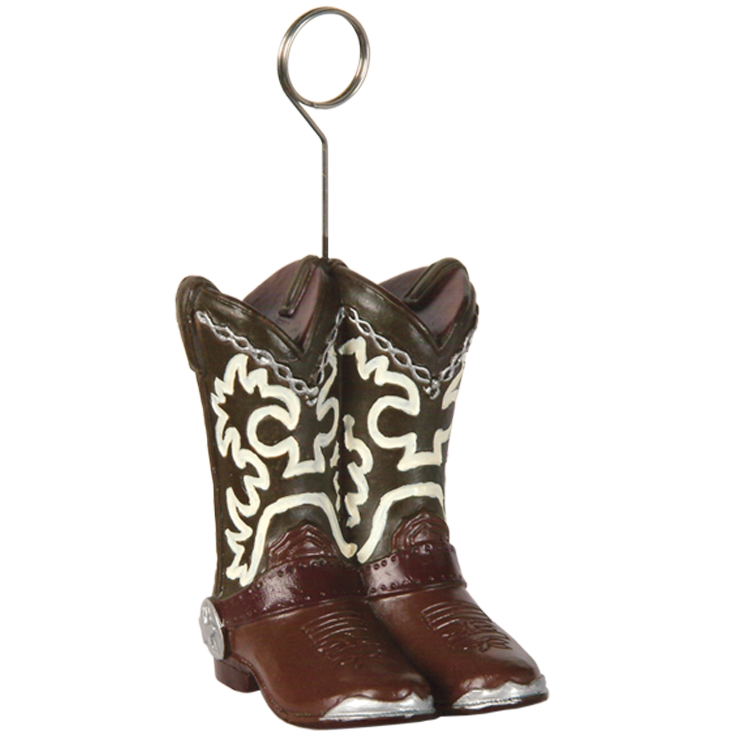 6oz Cowboy Boots Photo/Balloon Holder (Pack of 6) cowboy, boots, photo, balloon, holder, western, theme, party, pack, rodeo, event, celebration, hotel, restaurant, bar, casino
