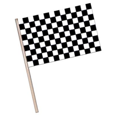 Plastic printed checkered flag attached to a wooden stick.