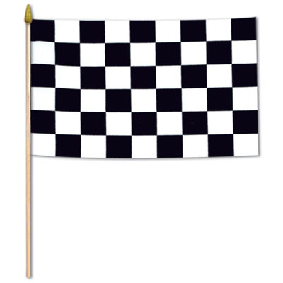 Fabric printed checkered flag attached to a wooden stick.