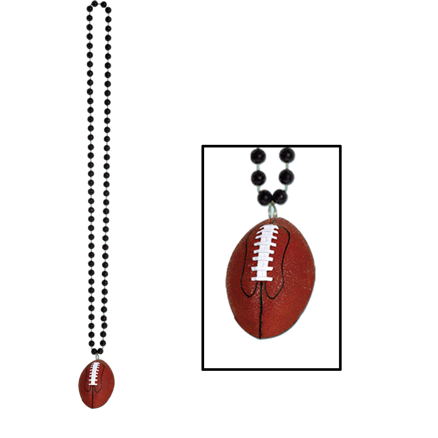 Beads w/Football Medallion (Pack of 12) black, onyx, beads, football, sports, game day, party, team spirit