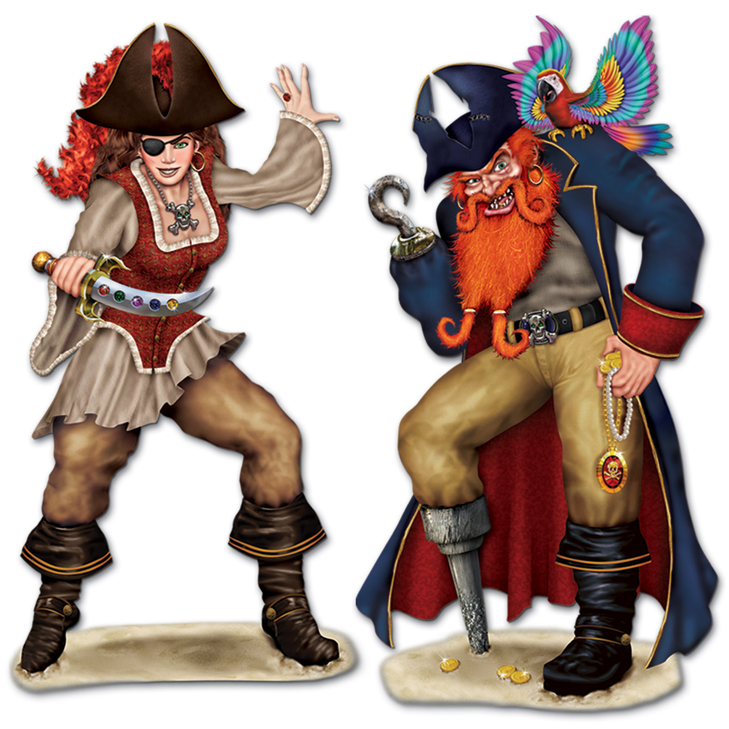 Bonny Blade & Calico Jack Props (Pack of 24) Wall Decorations, Pirate, Lifesize pirates, Cheap pirates, Pirate theme, Birthday idea, Pirate party, Wholesale supplies, Party decorations, Cheap wall decor