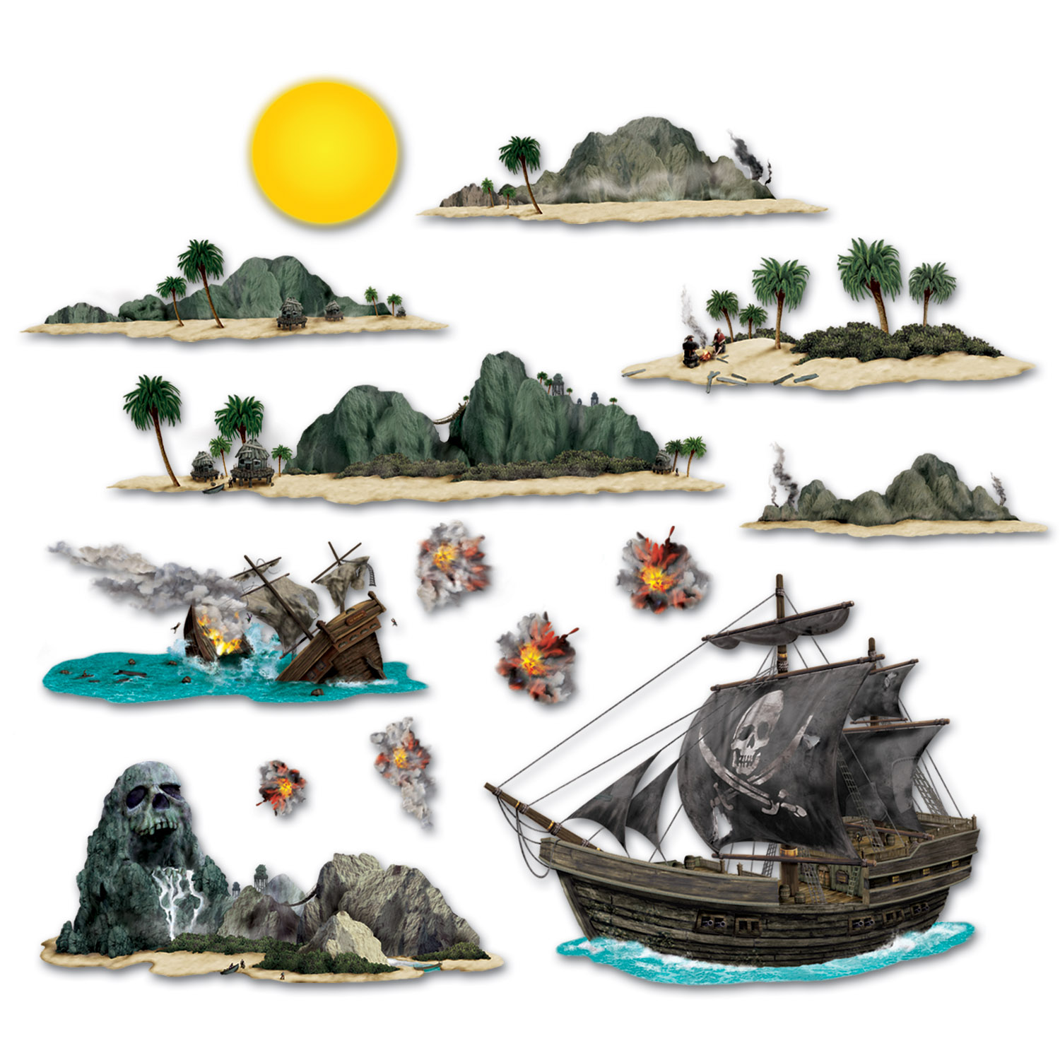 Pirate Ship & Island Props  Pirate Ship, Pirate Props, Island Decor, Ship Props, Island Decorations, Pirate party ideas, Pirate birthday, Wholesale party supplies, Inexpensive party decor, Cheap decorations, Pirate theme, Birthday supplies, Cheap birthday decorations