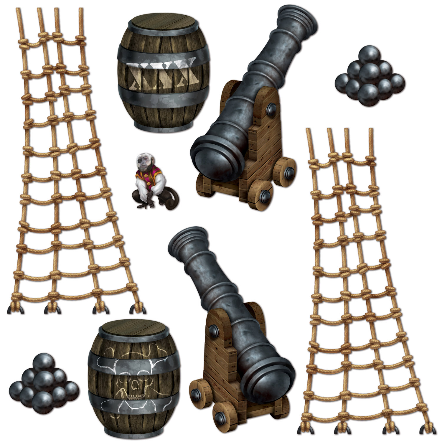 Pirate Ship Props (Pack of 108) Pirate Ship, Backdrop, Party Decor, Wholesale Pirate Decorations, Inexpensive party supplies, Cheap party goods, Pirate themed ideas, Birthday pirate, Cheap birthday, Pirate deck accessories