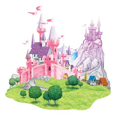 Castle Prop of a beautiful pink castle printed on thin plastic material.
