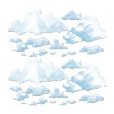 Fluffy Cloud Props of various sized printed on thin plastic material.