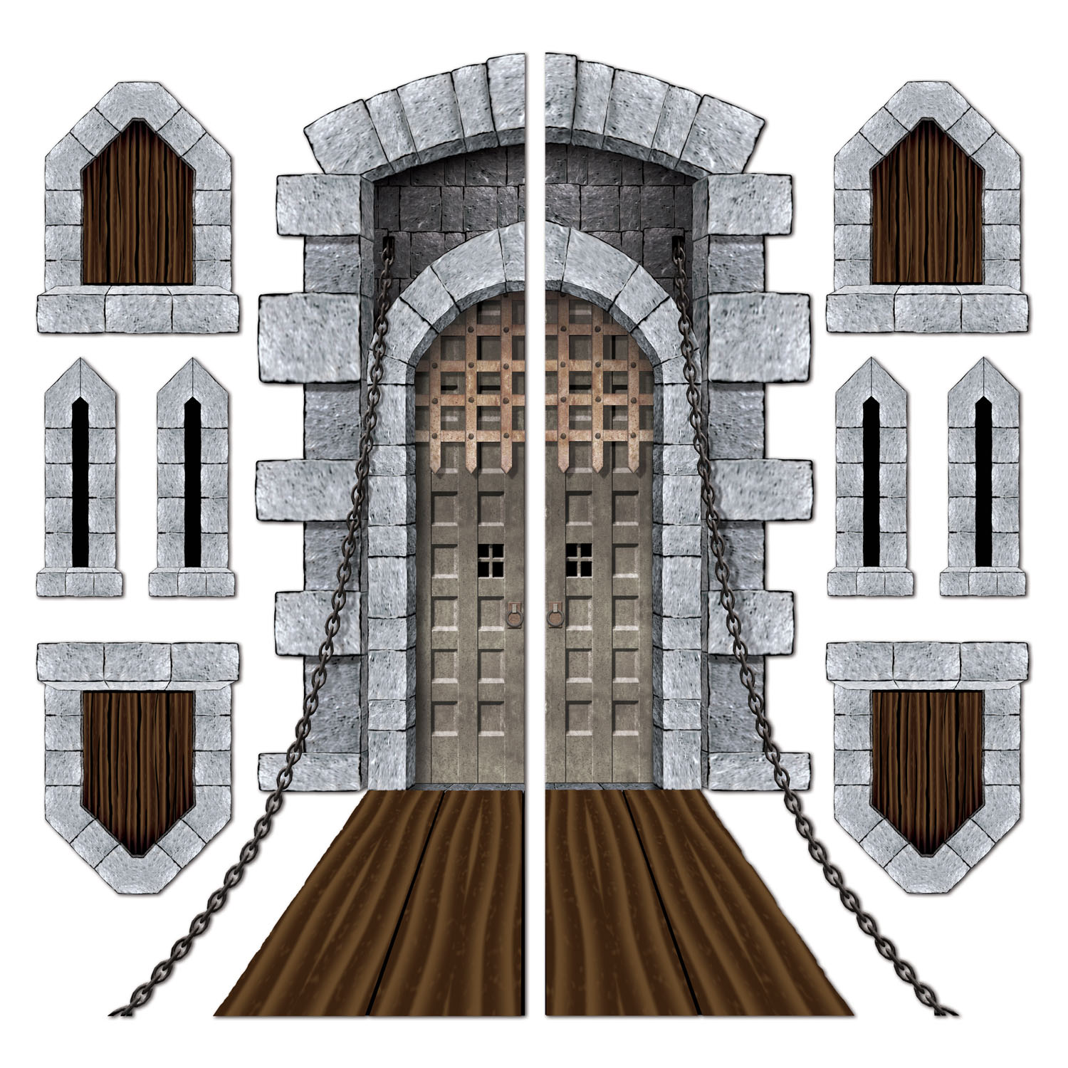 Castle Door & Window Props (Pack of 12) medieval, fantasy, halloween, props, castle