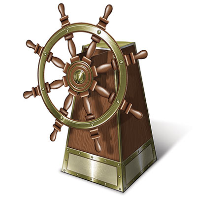 3-D Jointed Ships Helm Centerpiece printed on card stock material.