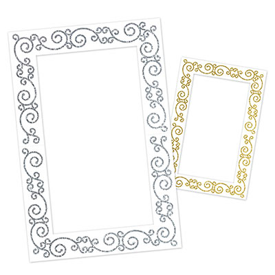 Glittered Photo Fun Frame on white card stock material with gold glitter design on one side and silver on the other.