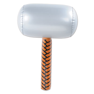 Inflatable Hammer made of plastic material with a silver head and brown handle.