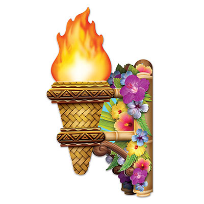 3-D Tiki Wall Torch with Flame printed on card stock material.