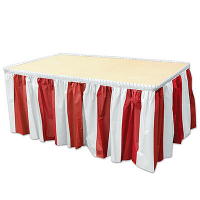 Red & White Stripes Table Skirting made of plastic material.