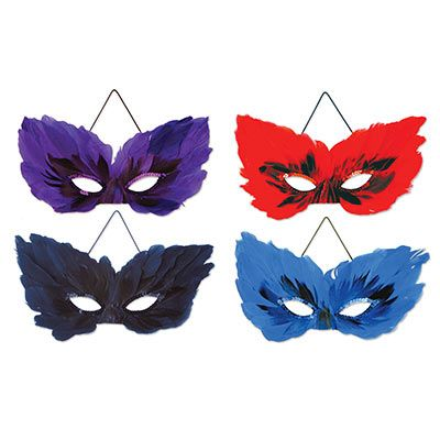 feather masks in red, purple, and blue